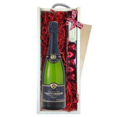 Taittinger Prelude Grands Crus NV & Heart?Truffles, Wooden Box