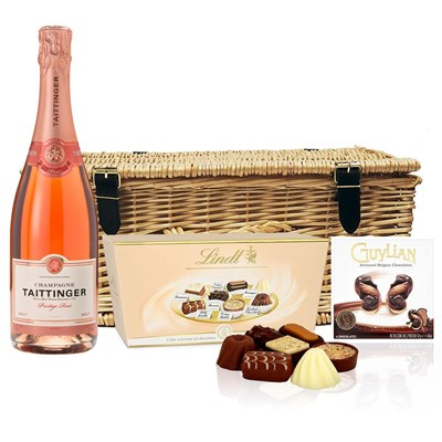 Taittinger Rose Champagne 75cl And Chocolates Hamper