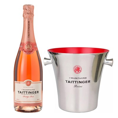 Taittinger Rose Champagne 75cl And Branded Ice Bucket Set