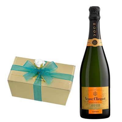 Veuve Clicquot Vintage 2008 75cl With Selection Of Milk, White And Dark Belgian Chocolates 460g
