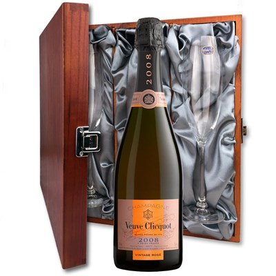 Veuve Clicquot Vintage Rose 2008 75cl - Vintage Champagne Gift And Flutes In Luxury Presentation Box