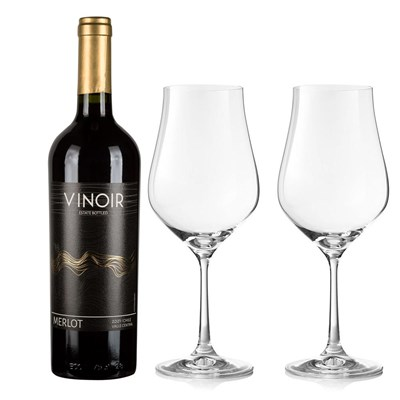 Vinoir Merlot And Crystal Classic Collection Wine Glasses
