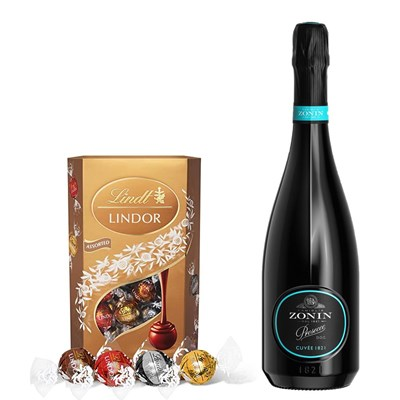 Zonin Prosecco Cuvee DOC 1821 With Lindt Lindor Assorted Truffles 200g