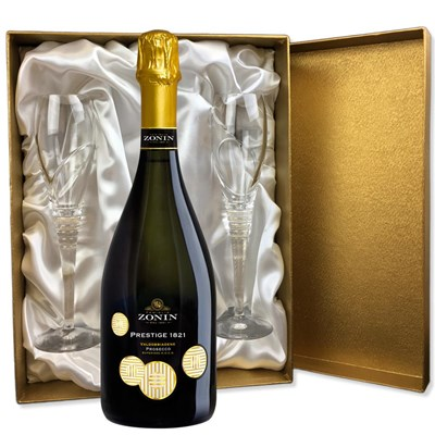 Zonin Prosecco Superiore DOCG Prestige 1821 Extra Dry in Gold Luxury Presentation Set With Flutes