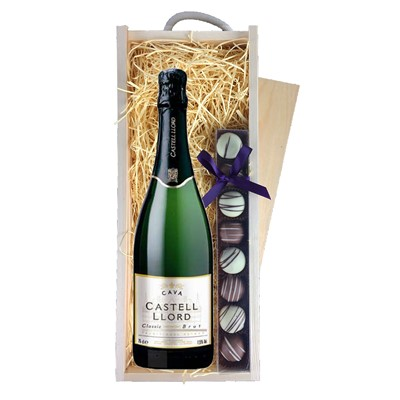 Castell Lord Cava with Truffles in Wooden Box