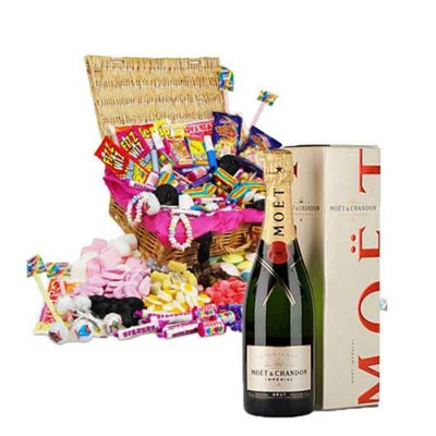 Classic Retro Sweet Hamper and Moet Champagne