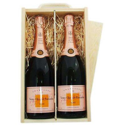 2 x Veuve Cliquot Rose Double Wooden Gift Boxed Champagne
