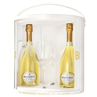 Besserat de Bellefon Rose and Blanc de Blancs Coffret Set with Flutes