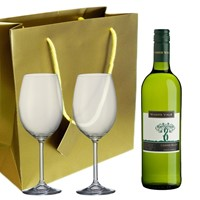 Mamre Vale Chenin Blanc and  Bohemia Royal Crystal Glasses in a Gift Bag