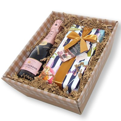 Mini Moet Rose Champagne and chocolates in tray