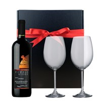 Puzzle Ridge Shiraz and  Bohemia Royal Crystal Glasses in a Gift Box