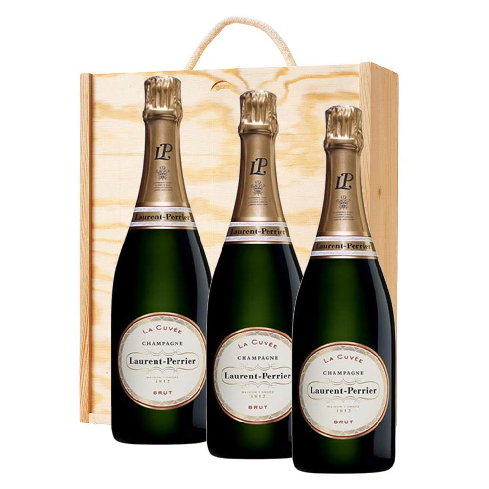 3 x laurent perrier la cuvee gift boxed 75cl champagne treble wooden gift boxed champagne. Black Bedroom Furniture Sets. Home Design Ideas