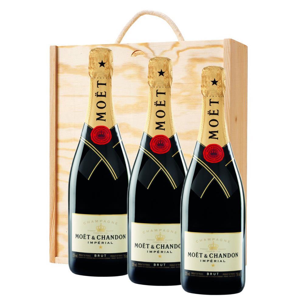 3 x Moet & Chandon Brut Imperial Champagne Bottle - In Moet Gift Box Treble Wooden