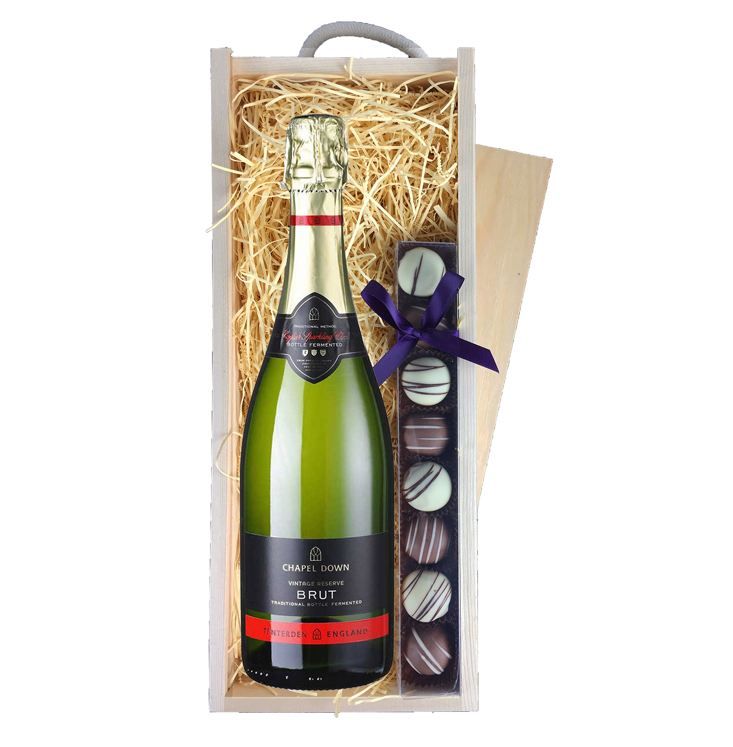 Chapel Down Brut Truffles Wooden Box Sparkling Wine Gifts