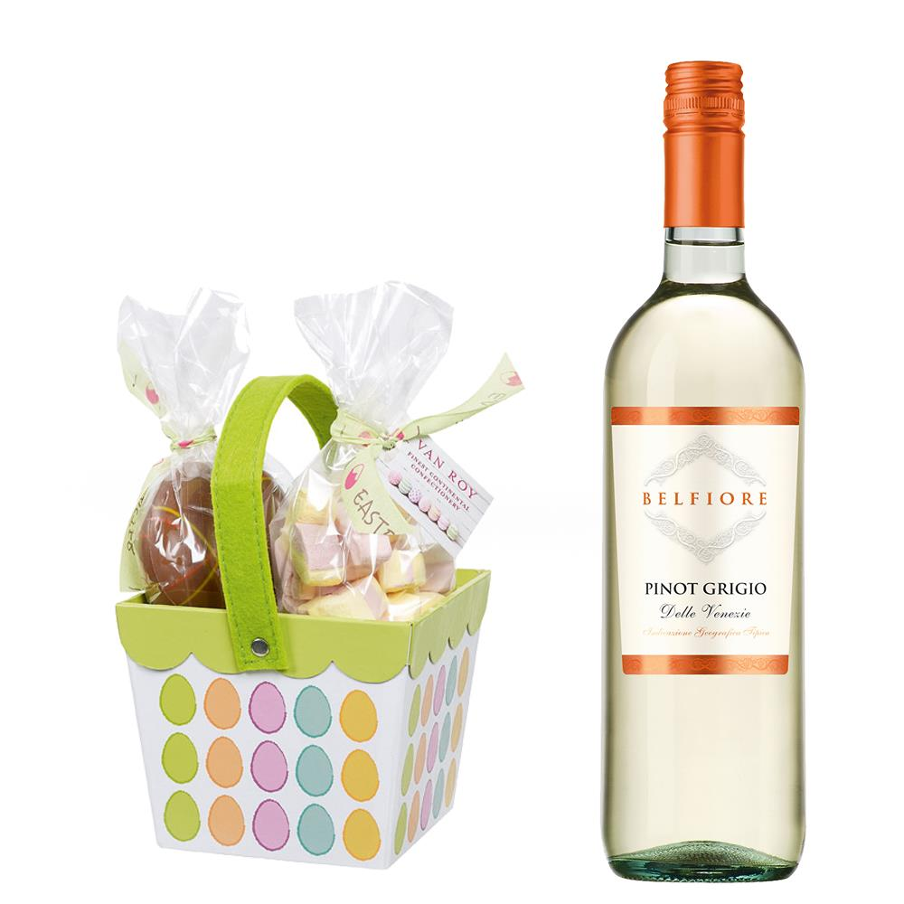 Send Belfiore Pinot Grigio With Easter basket filled with Belgian chocolate eggs and mallows