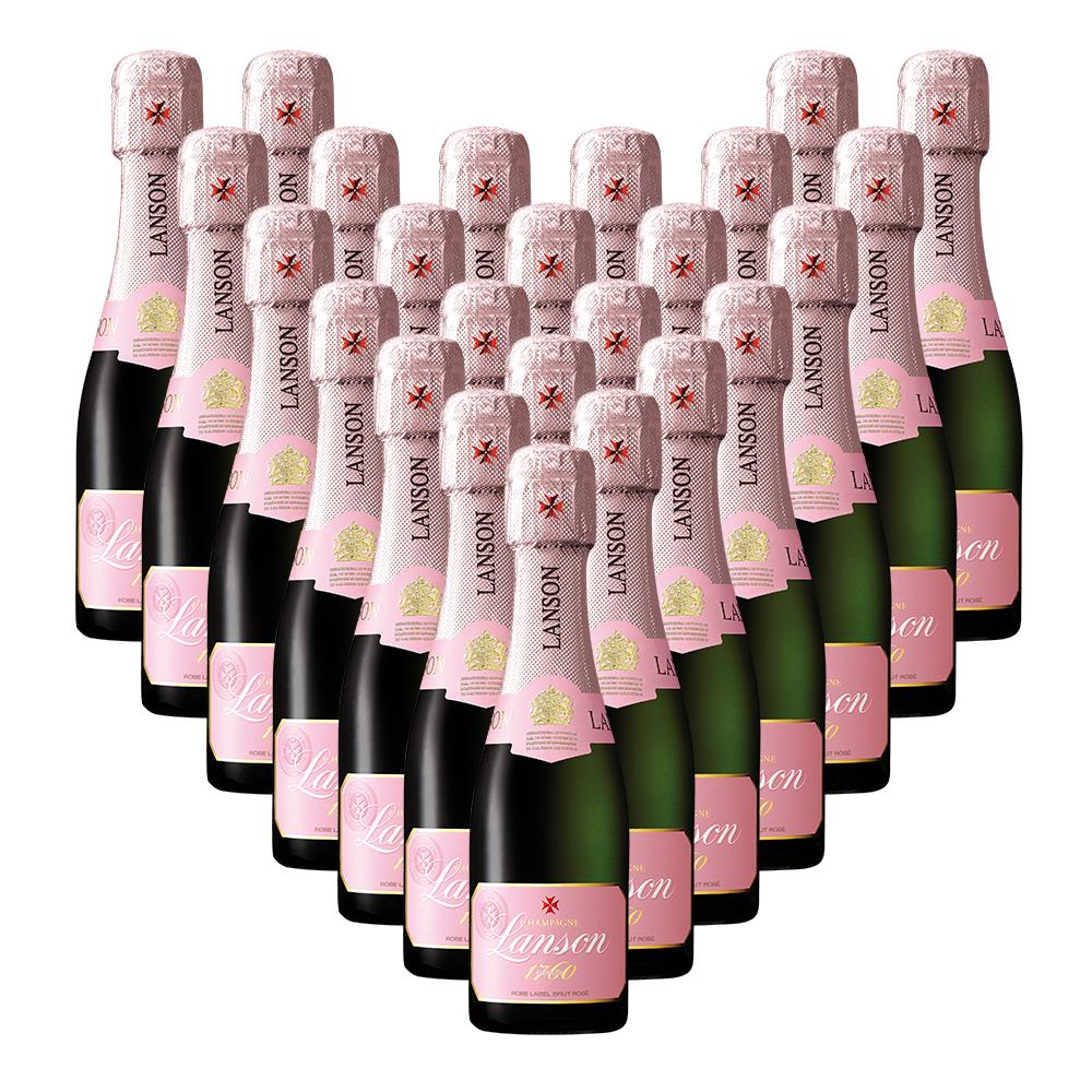 Case Of Mini Lanson Rose Champagne 20cl 24 X 20cl