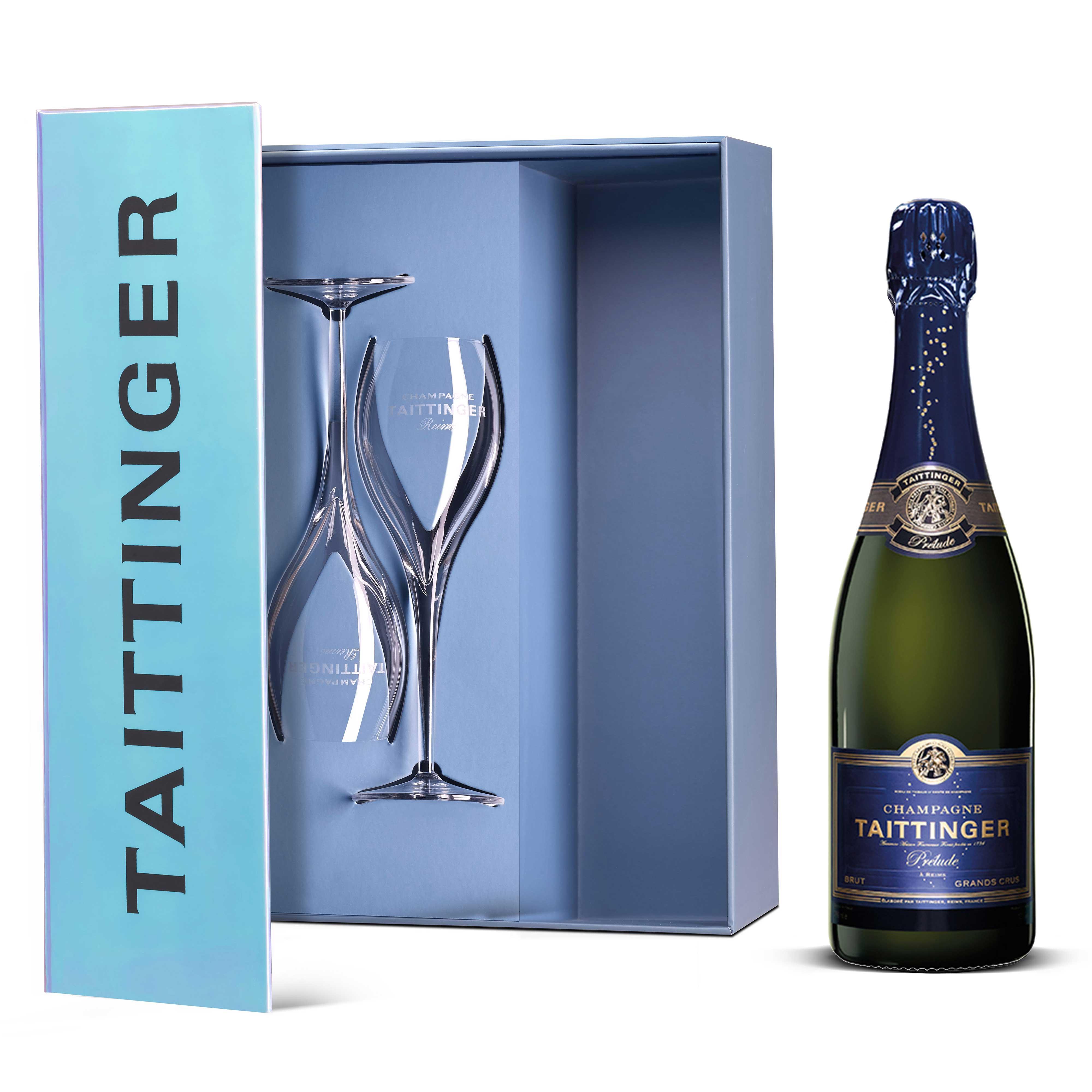 Send Taittinger Prelude Grands Crus NV & 2 Flute Gift Set 75cl