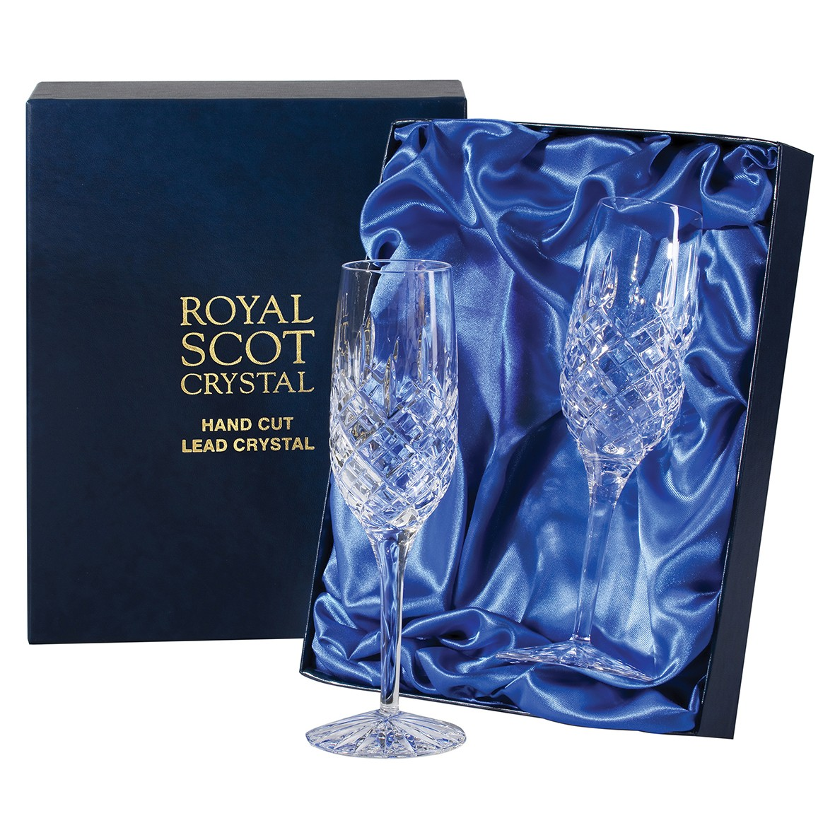 2 royal scot crystal champagne flutes london presentation boxed. Black Bedroom Furniture Sets. Home Design Ideas