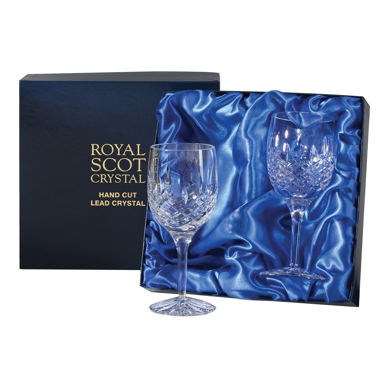 2 royal scot crystal wine glasses london presentation boxed. Black Bedroom Furniture Sets. Home Design Ideas