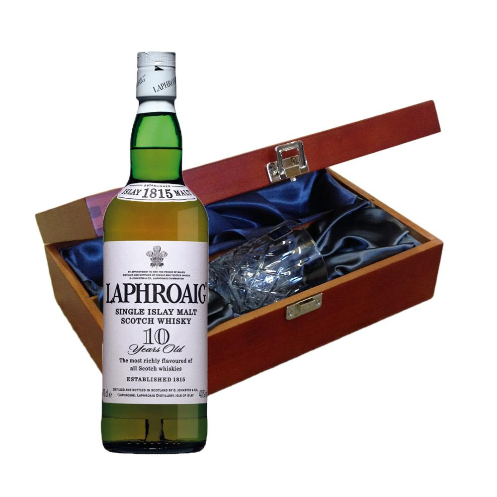 Laphroaig 10 Year Old Single Malt Whisky In Luxury Box With Royal Scot Glass 49689b4c4