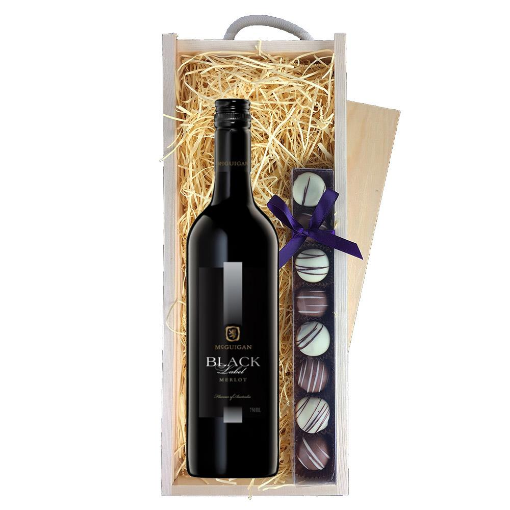 Mcguigan Black Label Merlot Red Wine Gifts Truffles Wooden Box