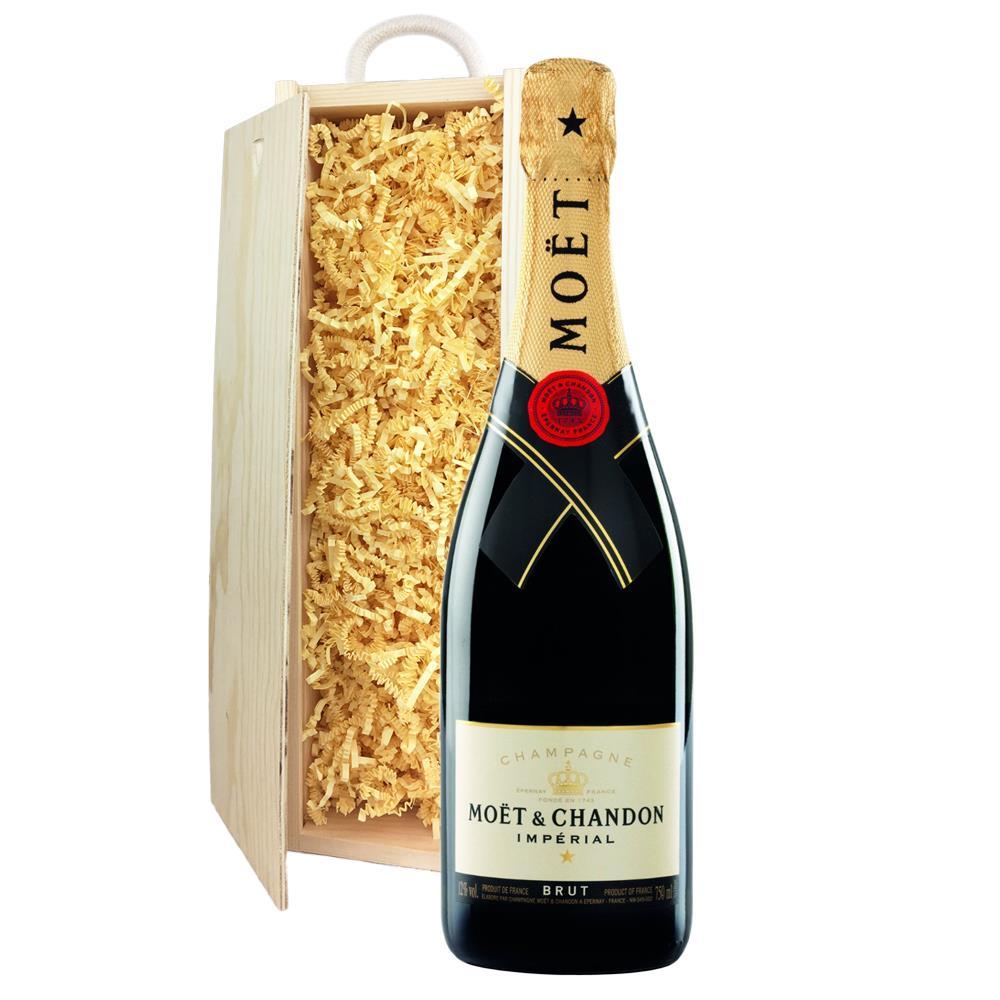 Moet & Chandon Brut Imperial Champagne Bottle - In Moet Gift Box In Wooden Sliding Lid