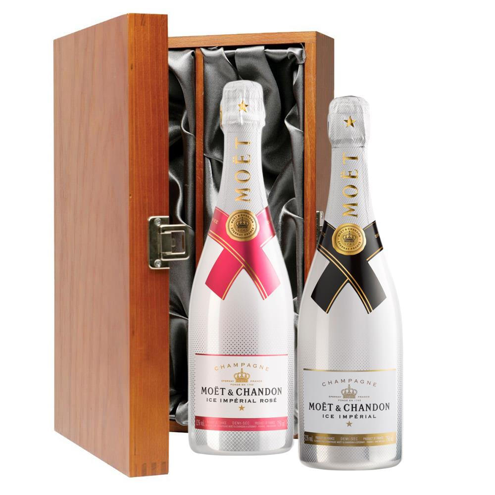Moet Ice White and Moet Ice White Rose Double Luxury Gift Boxed Champagne