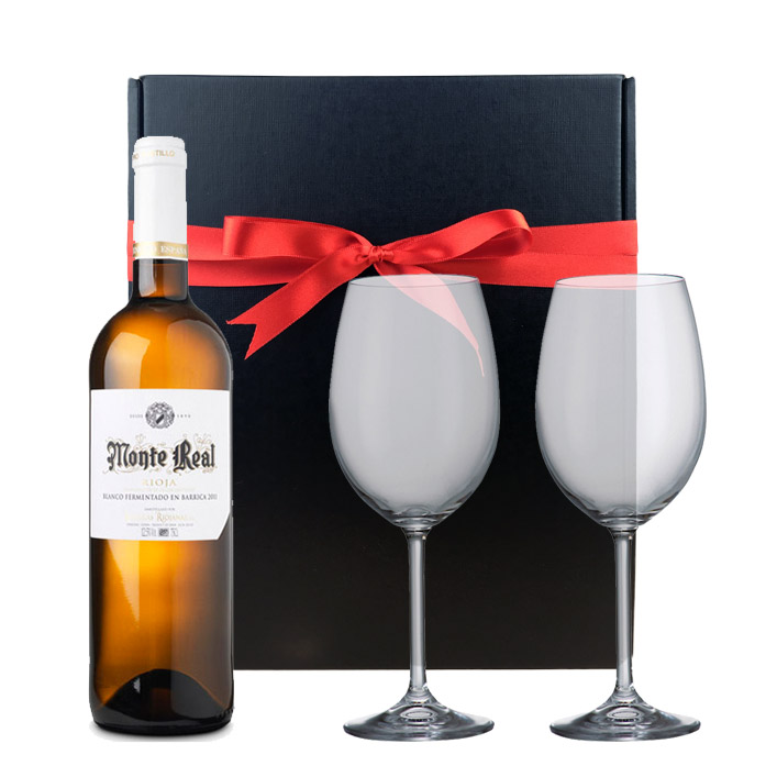 Monte Real Blanco And Bohemia Royal Crystal Glasses In A Gift Box
