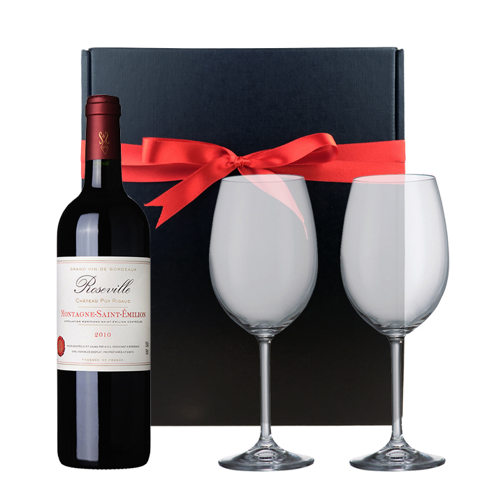 Roseville Bordeaux St Emilion And Bohemia Royal Crystal Glasses In A Gift Box
