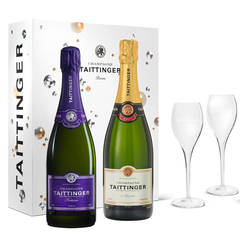 Taittinger Brut And Nocturne Sec Twin Gift Box With Glasses