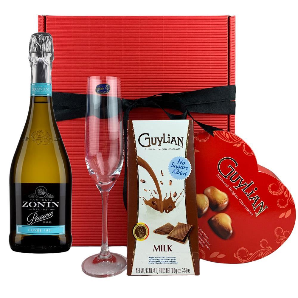 Zonin Prosecco Cuvee Doc 1821 Flute And Heart Chocolates Gift Box
