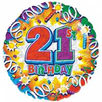 Buy & Send Happy 21st Birthday Helium Balloon