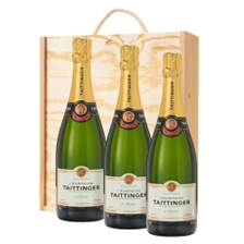 Buy & Send 3 x Taittinger Brut NV 75cl Champagne Bottle Treble Wooden Gift Boxed Champagne