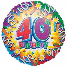 Buy & Send Happy 40th Birthday Helium Balloon