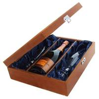 Buy & Send Veuve Clicquot Vintage Rose 2008 Champagne and Flutes in Luxury Presentation box