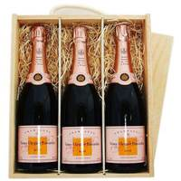 Buy & Send 3 x Veuve Clicquot Rose Treble Wooden Gift Boxed Champagne