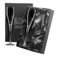 Buy & Send 2 Royal Scot Crystal Champagne Flutes (260mm) - Saturn - PRESENTATION BOXED