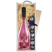 Buy & Send Armand de Brignac Rose with Truffles in Wooden Box - Champagne and Chocolates