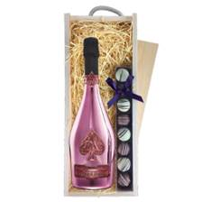 Buy & Send Armand de Brignac Brut Rose NV 75cl & Truffles, Wooden Box