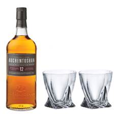 Buy & Send Auchentoshan 12 Year Old Single Malt Whisky with Bohemia Quadro Tumblers