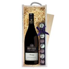 Buy & Send Bergsig Estate Pinotage - South Africa & Truffles, Wooden Box