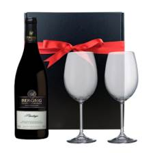 Buy & Send Bergsig Estate Pinotage And Bohemia Glasses In A Gift Box