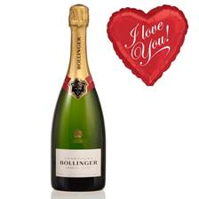 Buy & Send Bollinger Brut Champagne and I Love You Balloon