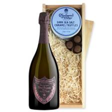 Buy & Send Dom Perignon Vintage Rose 75cl 2005 And Dark Sea Salt Charbonnel Chocolates Box