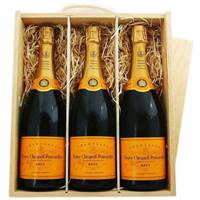 Buy & Send 3 x Veuve Clicquot Treble Wooden Gift Boxed Champagne