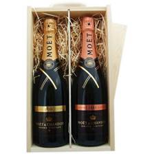 Buy & Send Moet & Chandon Brut & Rose Vintage Double Wooden Gift Boxed Champagne