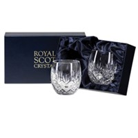 Royal Scot Crystal Edinburgh 2 Barrel Tumblers (Presentation Boxed)