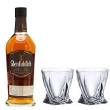 Buy & Send Glenfiddich 18 Year OldSingle Malt Whisky with Bohemia Quadro Tumblers