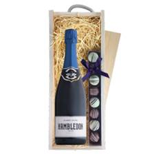 Buy & Send Hambledon Classic Cuvee English 75cl & Heart Truffles, Wooden Box