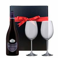 Buy & Send Highfield Pinot Noir and  Bohemia Royal Crystal Glasses in a Gift Box